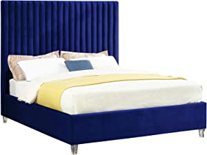 Meridian Furniture Candace Collection Modern | Contemporary Velvet Upholstered Bed with Deep Channel Tufting and Custom Acrylic Legs, Navy, Full