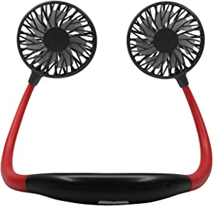 Wearable Fan – Outdoor Cooling Fan – Neck Cooler – Personal Cooling Device for Neck – Soft Material for Long Wear –Carrying Pouch Included – Available in White/Red and Black (Red and Black)