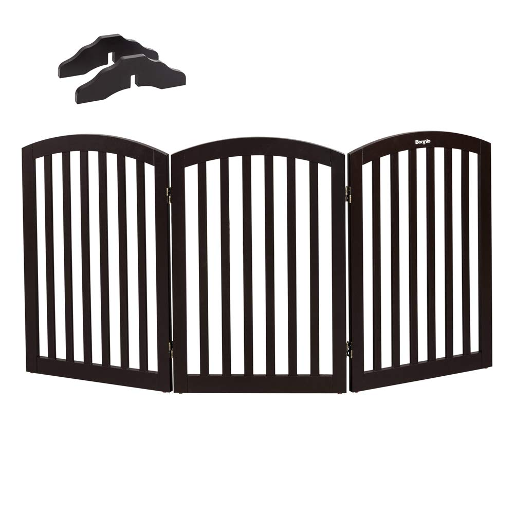 Bonnlo Free Standing 30'' Tall Dog Gates for Doorways Indoor Stairs Wooden 3 Panel Pet Gate   Up to 61'' Wide   Espresso   Foot Supporters Included