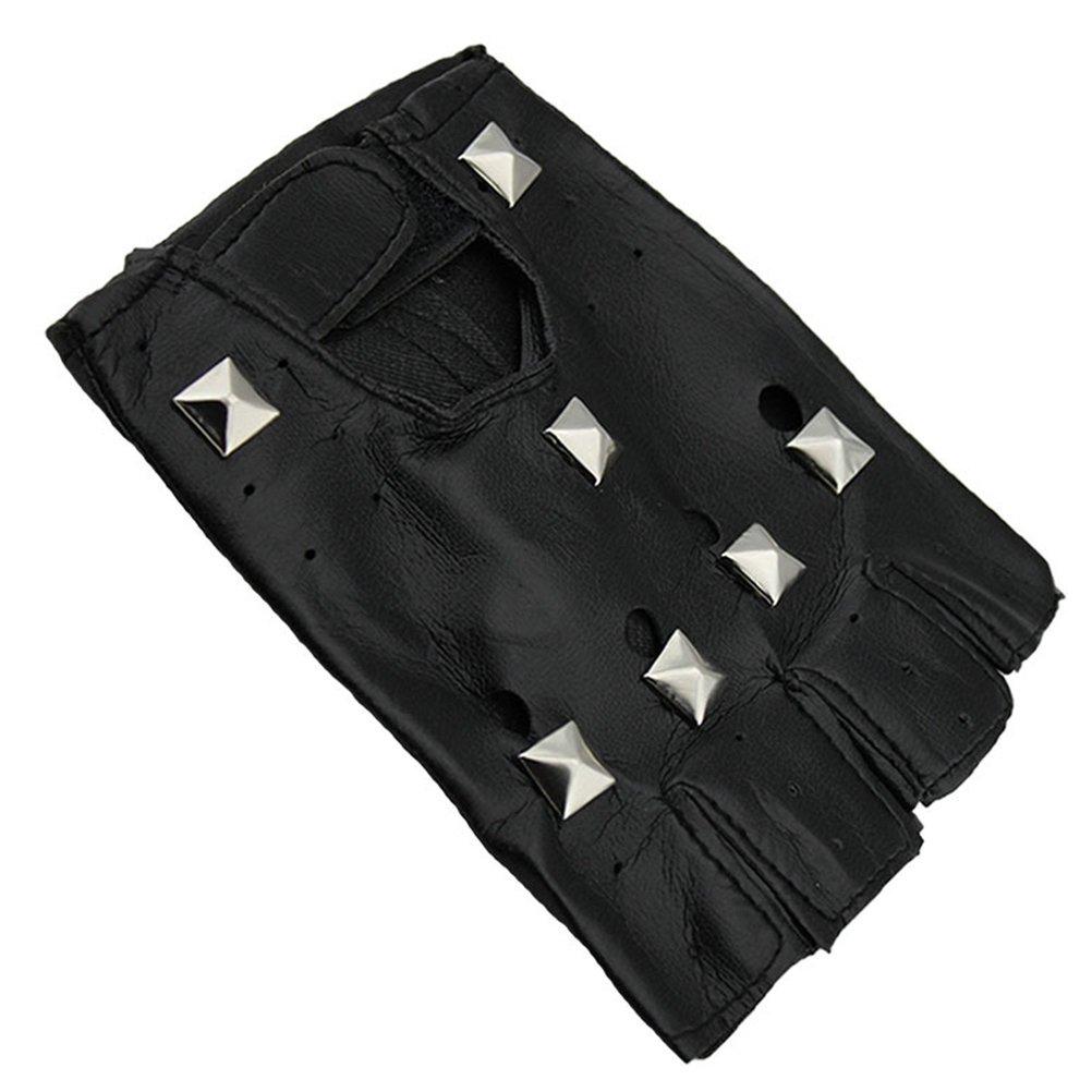 Nail Bateau Noir LUOEM 4 Paires Rivets Demi Doigt Gants Punk Rock Style Mitaines En Cuir