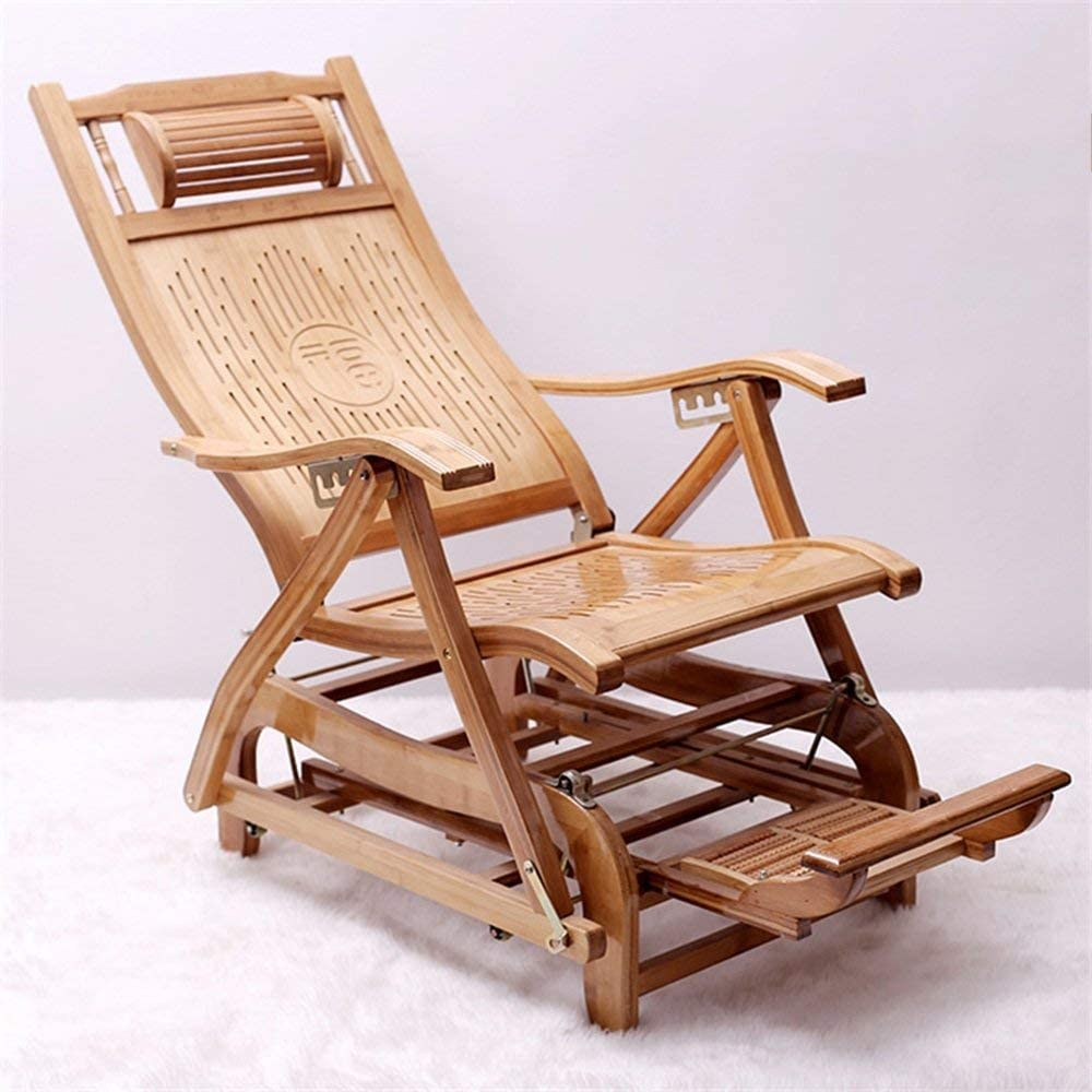 : QTQZ Bamboo Rocking Chair Folding Rocking Chair