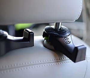 Car Headrest Hooks - Premium Car Seat Hangers Holders for Purse Bag with Locker - Set of 2 (Black)