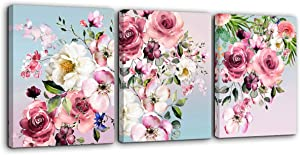 "Flower Canvas Wall Art for Bedroom Woman Wall Decor Pink White Flowers Picture 3 Piece Framed Artwork Modern Plant Floral Canvas Prints for Kitchen Home Bathroom Girls Room Wall Decoration 16""x24"""