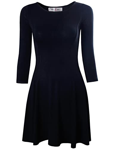 Tom's Ware Women's Casual Slim Fit and Flare Round Neckline Dress