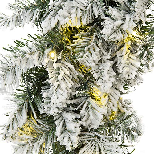 Best Choice Products 24-inch Pre-Lit Indoor Cordless Artificial Snow Flocked Christmas Pine Wreath for Home, Party Décor w/Hidden Battery Box, 50 White LED Lights, 6-Hour Timer, Green/White