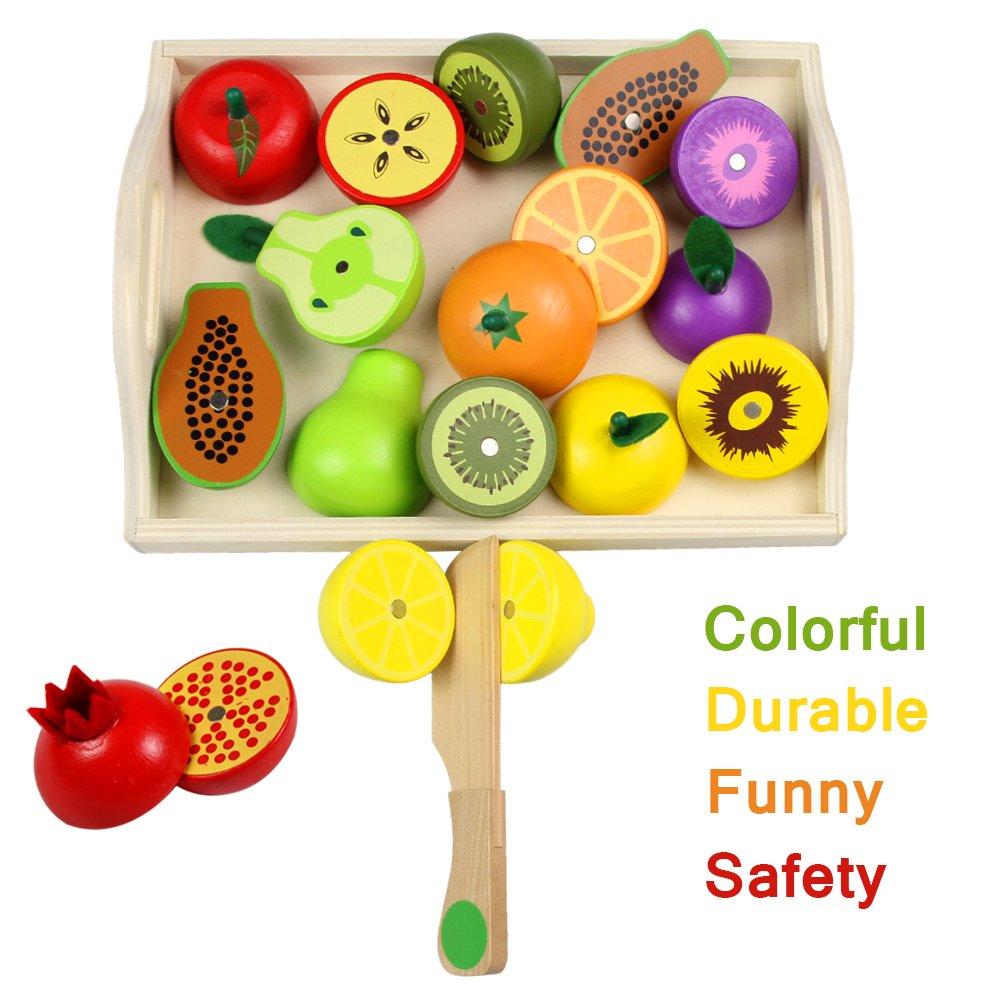 Frutas Juguete para Cortar Verduras Fruta Madera Magn/ético Cocinita Juguete Juegos Madera para Ni/ños 20 Piezas