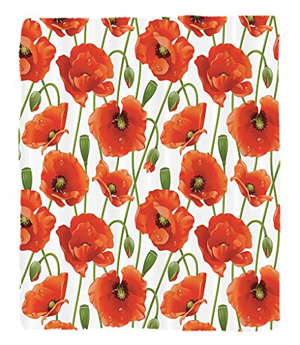 Chaoran 1 Fleece Blanket on Amazon Super Silky Soft All Season Super Plush Poppy Flowers Blooms Buds Water Drops Dew Morning Time Image Pattern Fabric et Orange Red by chaoran