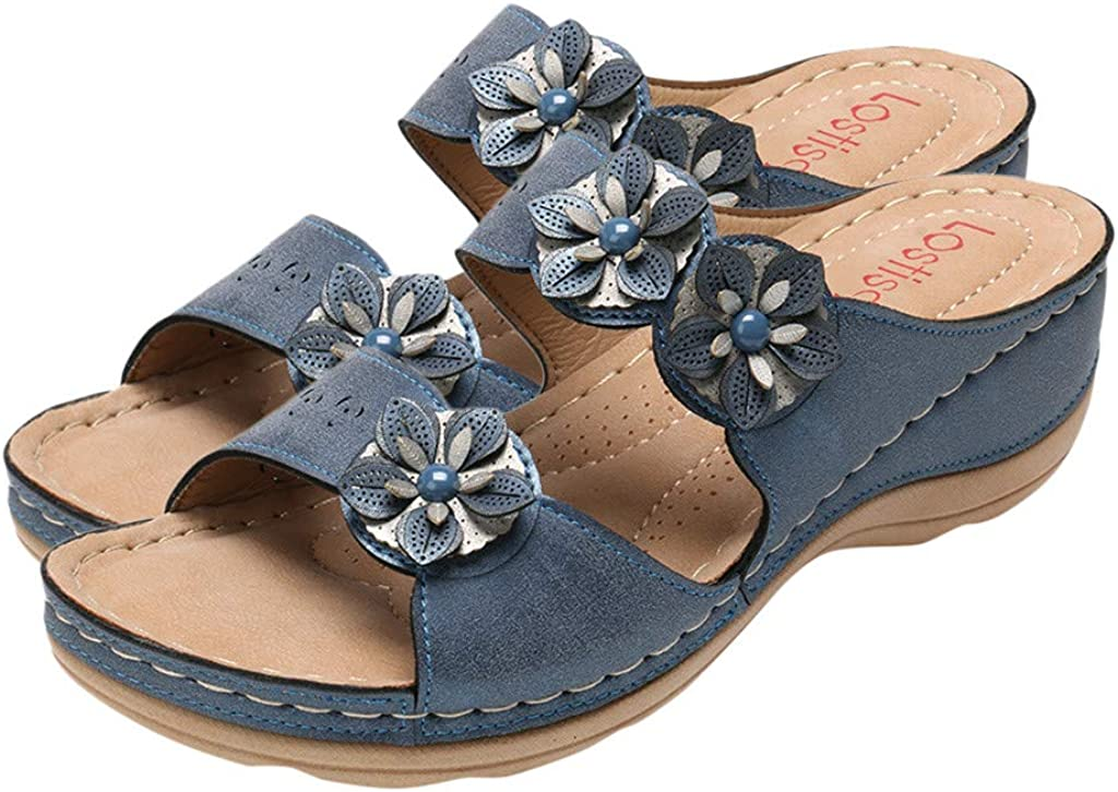 Moilant Slippers for Women,Casual Cute Applique Wedges Slippers Open Toe Platform Sandals Comfortable Shoes