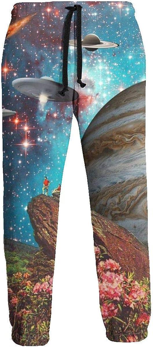 Inaayayi Watching Stars Spaceships Planet Space Joggers Pantalones Deportivos para Hombre