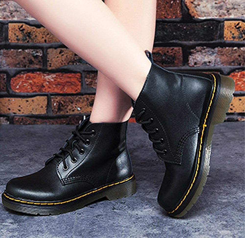 Womens Stylish Round Toe Thick Sole High Top Lace up Flat Booties Ankle Boots
