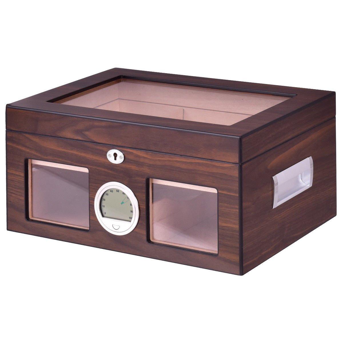 Humidor Storage Box Desktop Glasstop Humidifier Hygrometer Lockable 50-75 Cigar Allblessings