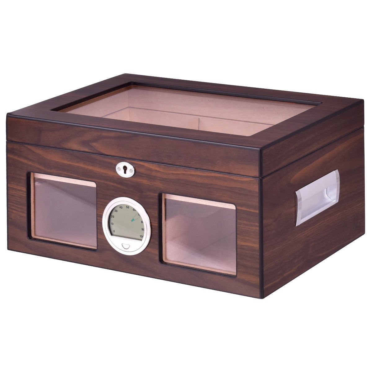 Giantex Desktop Cigar Humidor Walnut Finished Tempered Glasstop Lockable w/Humidifier Hygrometer 50-100 Cigars