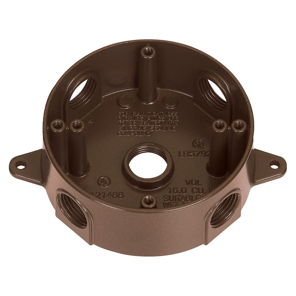 Sigma Electric 143854-75BR 3/4-Inch 5 Hole Round Box, Bronze