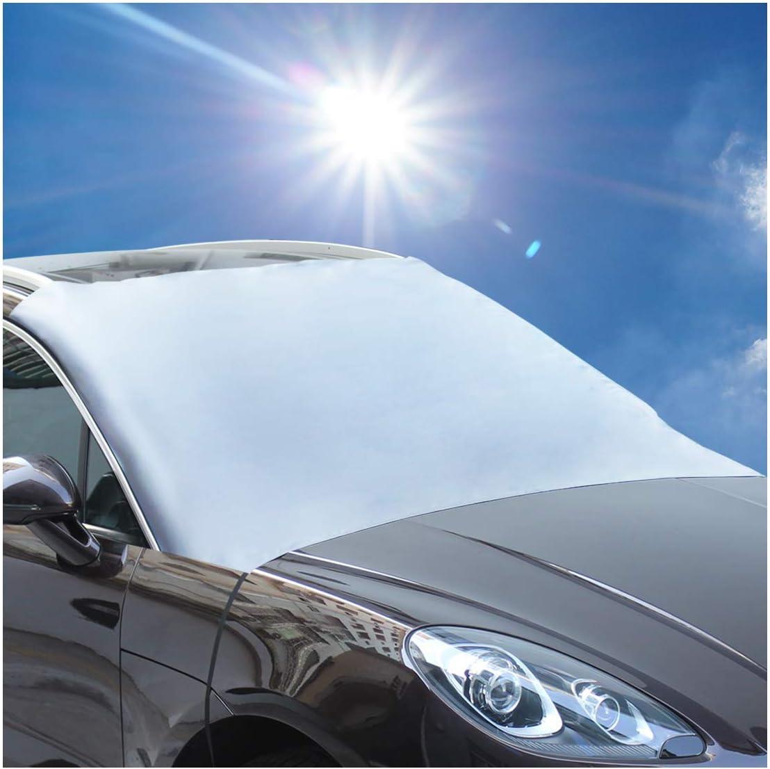 Bigbigjk Autoabdeckung Winter Kleinwagen Windschutzscheibe Abdeckung Frontscheibenabdeckung und Auto Eiskratzer Eisschaber f/ür UV-Schutz Auto Winterabdeckung