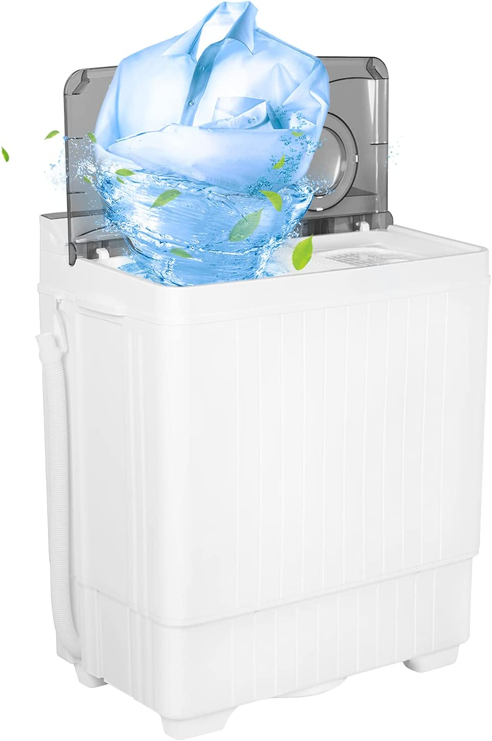 GREENVELLY Portable Washing Machine Washer, 24lbs Small Apartment Washer and Spin Dryer Combo, Mini Twin-Tub Washing Machine, Small Laundry Washer for Dorms College RV Home (Grey)