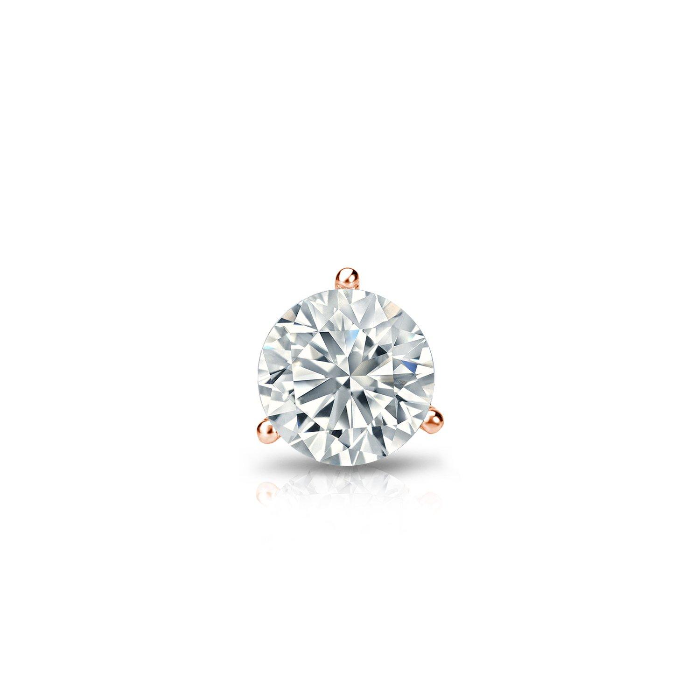 Push-Back 14k White Gold 3-Prong Martini Round Diamond Men SINGLE STUD Earring 1//8-1ct,H-I,I2-I3
