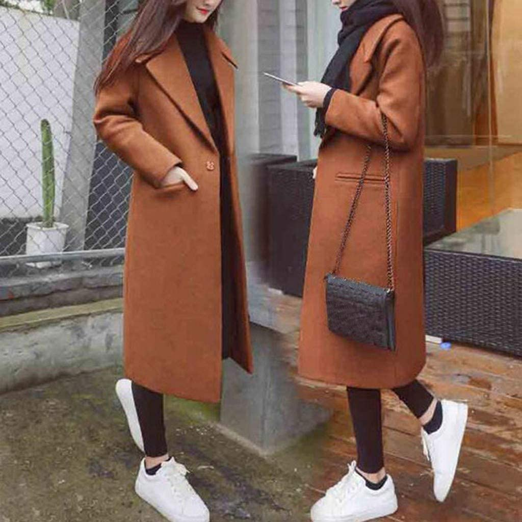 KEYIA Women Loose Long Wool Coats Fashion Solid Color Winter Office Long Sleeve Jackets Brown