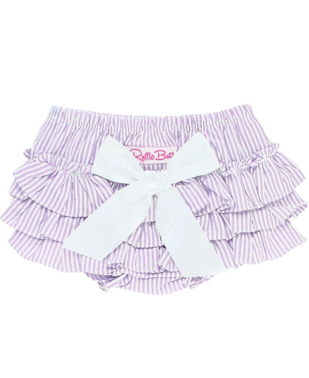 RuffleButts Baby/Toddler Girls Striped Seersucker Ruffled Bloomer RBWSSXX-0000-SC-BABY