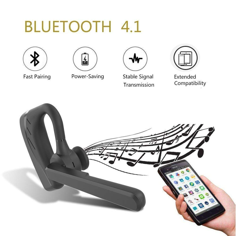 Amazon.com: Bluetooth Headset, Wireless Earpiece V4.1 Ultralight HandsFree Business Earphone with Mic for Business/Office/Driving-Black: Cell Phones & ...