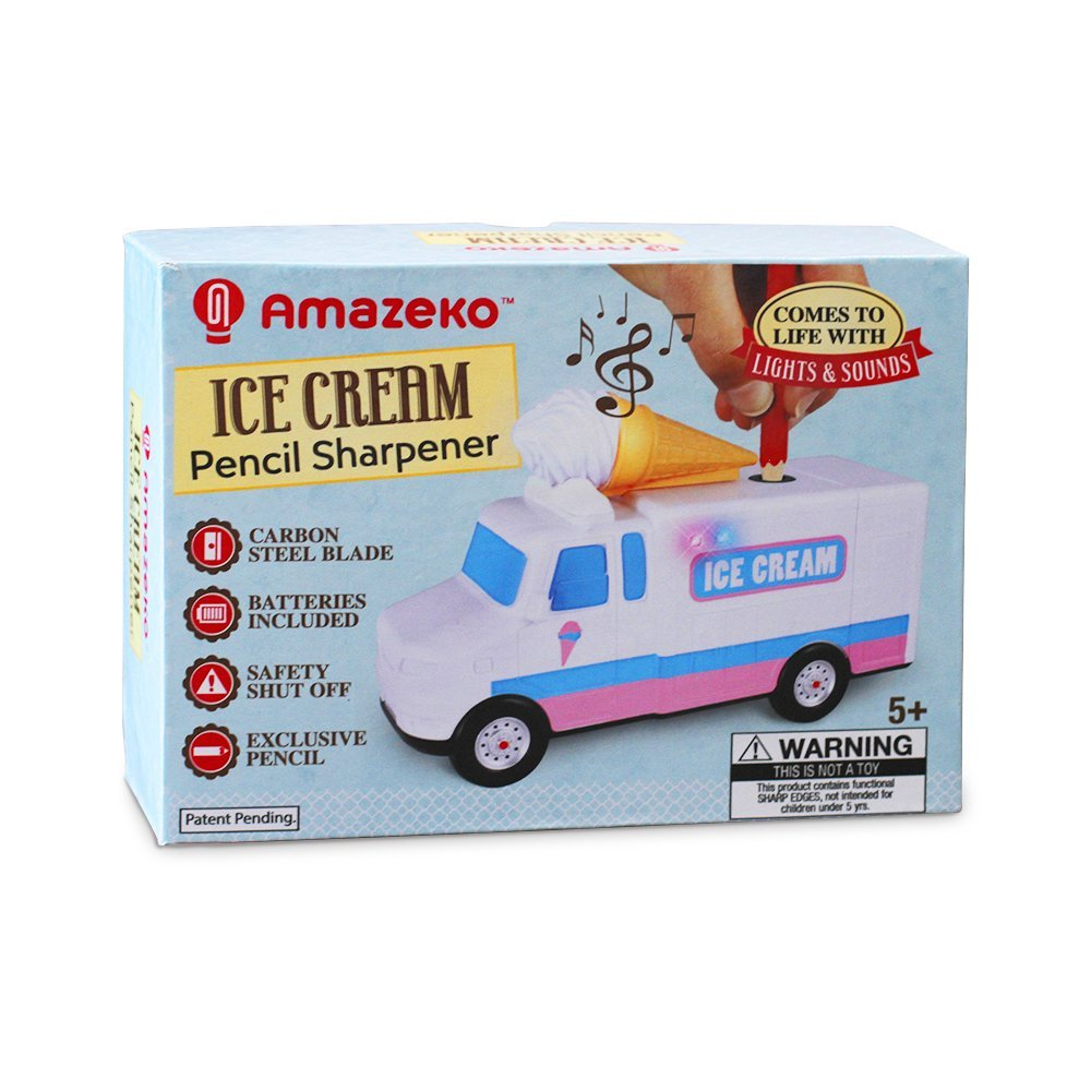Amazeko Electric Pencil Sharpener with Ice Cream Lights & Music for Kids. Includes Carbon Steel, Electronic Sharpener, Batteries, Pencil. Perfect Gift for Easter, Graduation, and Birthdays by Amazeko (Image #4)