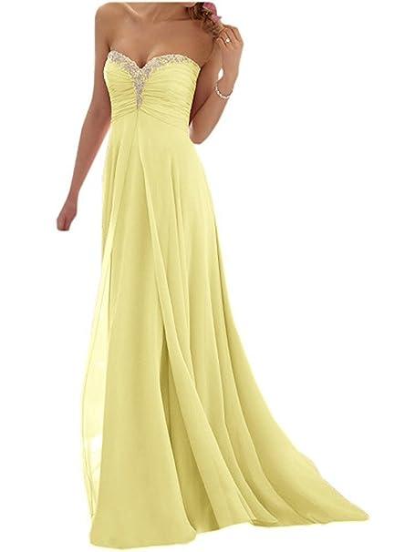 JAEDEN Mujer Elegante Sin Tirantes Gasa Vestido de Fiesta Largo A-Line Vestido de Noche