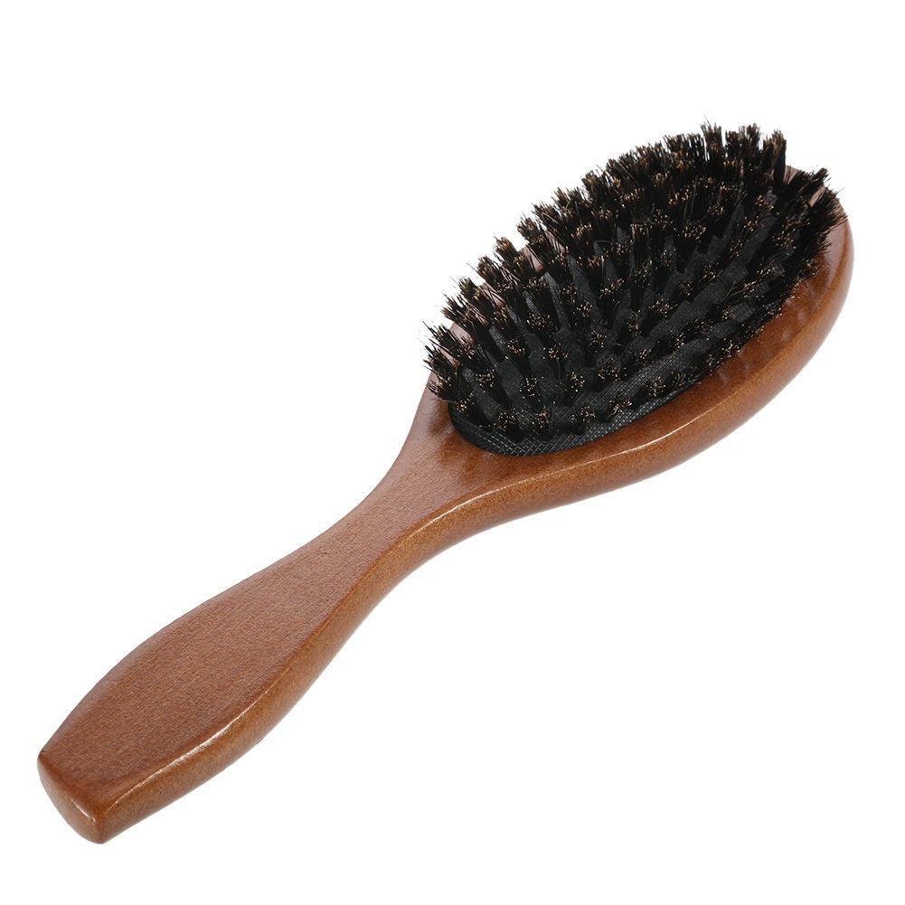Shager Cepillo del pelo con cerdas de jabalí natural, mango de madera, antiestático - Masajea el cuero cabelludo: Amazon.es: Belleza