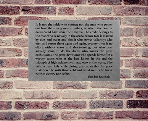 Theodore Roosevelt Man in the Arena Wall Art Plaque Inspirational Quote ()