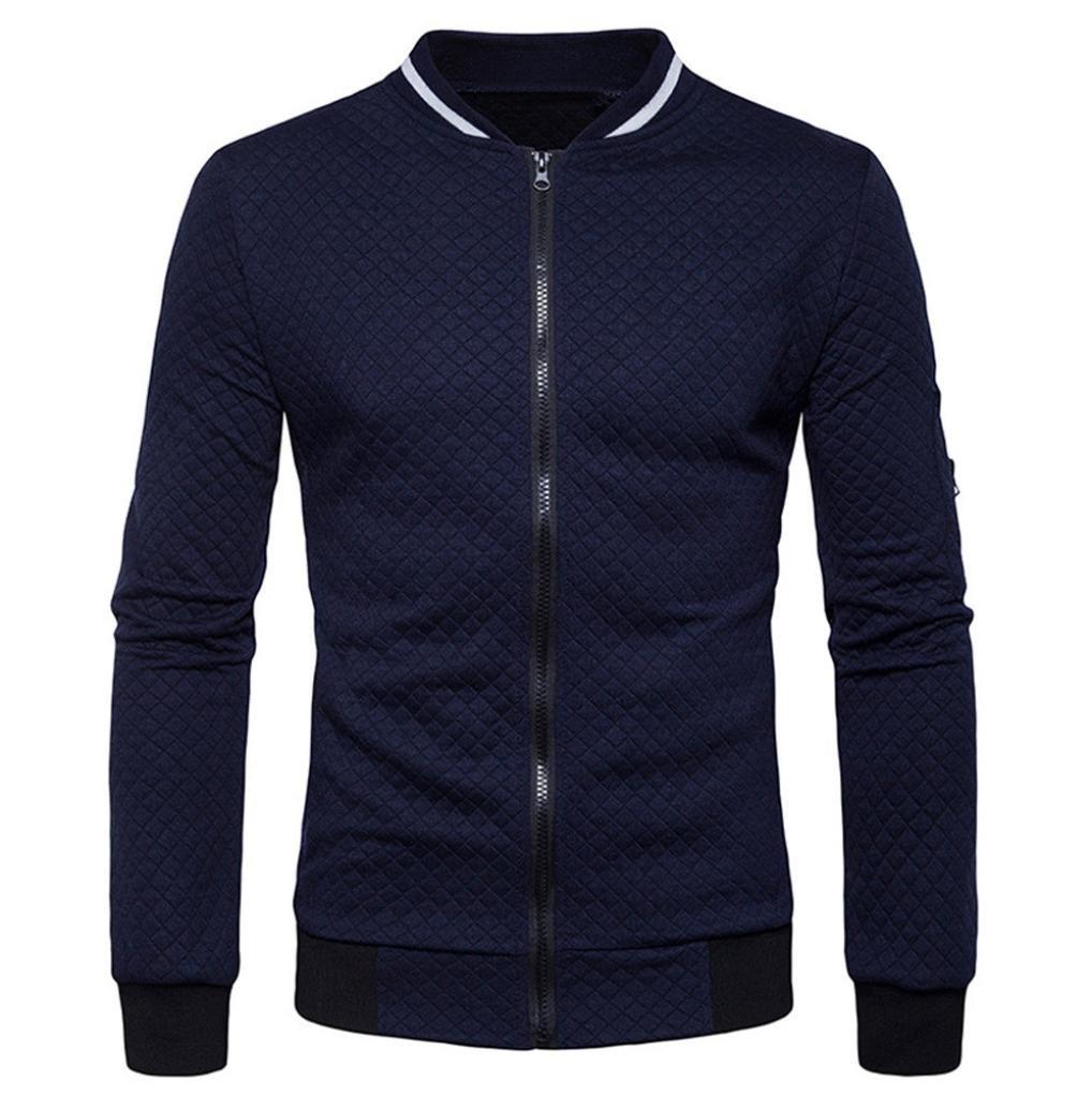 LUCKYCAT Langärmeliges kariertes Cardigan-Sweatshirt für Herren Mantel Mantel Outwear