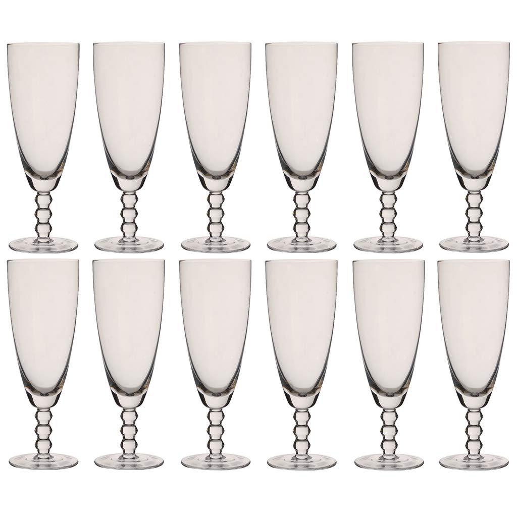 Juego de 12 copas de champán con cuentas de cristal de Bella Perle, 300 ml: Amazon.es: Hogar