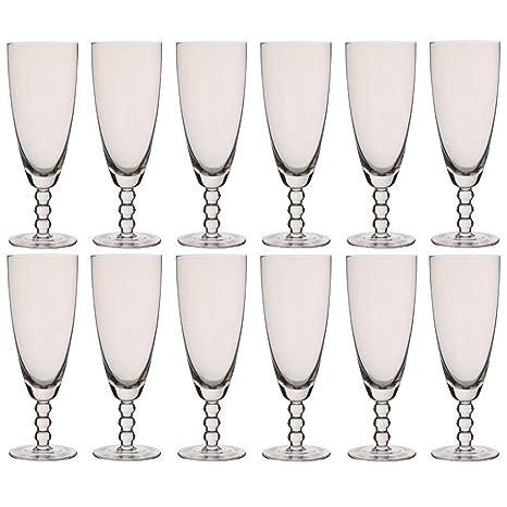 Juego de 12 copas de champán con cuentas de cristal de Bella Perle, 300 ml