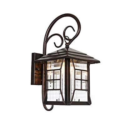 Maxax Outdoor Wall Light, Exterior Wall Lamp with Hammered Glass Shade for Patio, Porch, Yard, Bronze Finish
