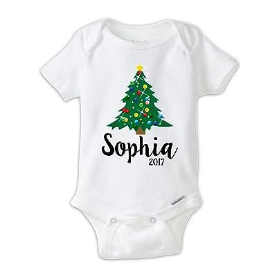 Christmas Tree Onesie.Juju Apparel Custom Christmas Tree Onesie Personalized Baby