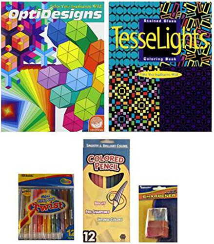 Mindware Geometric/Stained Glass Coloring Book/Twistable Crayons/Colored Pencils/Sharpener 5-pc Bundle