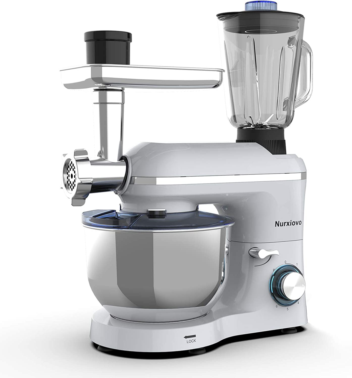 Nurxiovo 3 in 1 Stand Mixer Commercial Multifunctional Food Electric Kitchen Mixer 850W Tilt-Head Dough Machine with 6-1/2 Qt Stainless Steel Bowl, Hook, Whisk, Beater, Meat Blender and Juicer, Silver