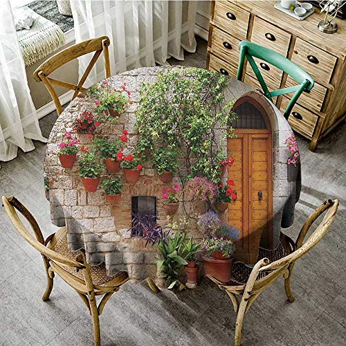 familytaste Outdoor Tablecloth Tuscan Decor Collection,Begonia Blooming in Box and Wooden Shutters on Brick Wall in Italy Picture,Red Purple Ivory D 70