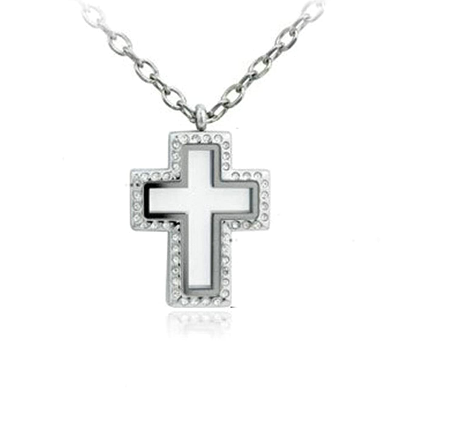 AMDXD Jewelry Stainless Steel Pendant Necklaces for Women Double Cross Cubic Zirconia Movable White