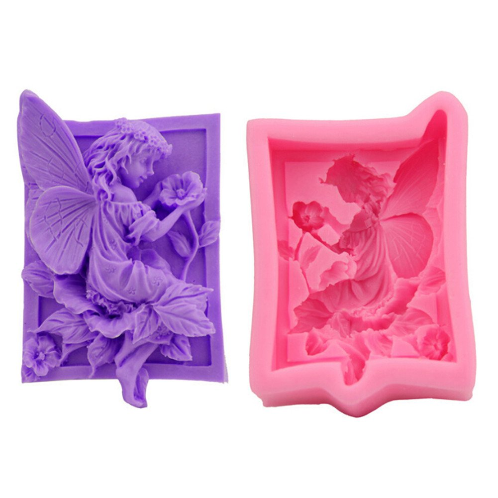 Gluckliy Angel Flower Fairy Shape Silicone Mould Fondant Sugarcraft Cake Decorating Tools Kitchen Accessories Bakeware Baking Accessories fangqiang