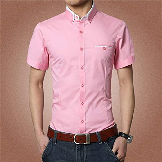 NSSY Camisa de Hombre Sólido de Manga Corta para Hombres, Camisas de Vestir, Camisa de Hombre de Trabajo, Traje de Pareja, Fiesta Masculina, XXXL: Amazon.es: Hogar
