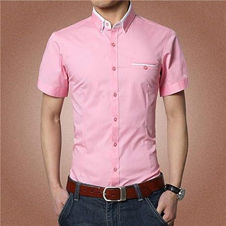 NSSY Camisa de Hombre Sólido de Manga Corta para Hombres ...