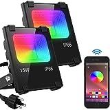 LED Flood Light 100W Equivalent, Outdoor Color Changing Led Stage Landscape Lighting, RGB Bluetooth Smart Floodlights…