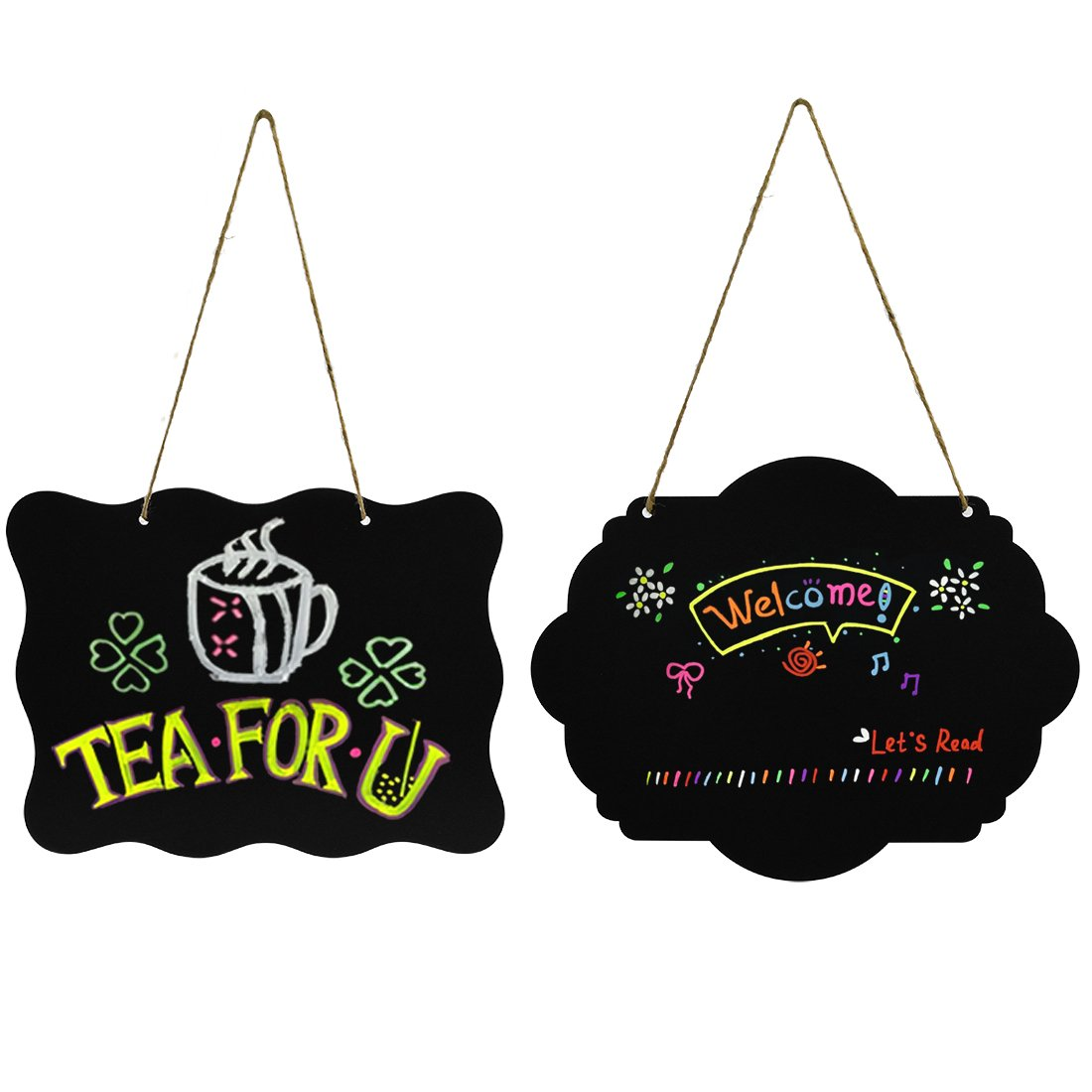 2 PCS Wooden Double Sided Hanging Chalkboard Signs, Nydotd Erasable Blackboard Creative Message Board & Jute Rope for Crafts/Wedding Party Christmas Decor(10''x7.8'')