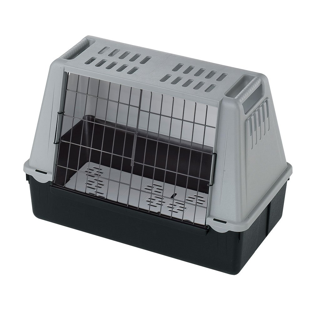 Pet carrier Storage compartments Draining pad included Ferplast Dog carrier for car travel ATLAR CAR MAXI 100 x 80 x H 71 cm Grey Ventilation grids