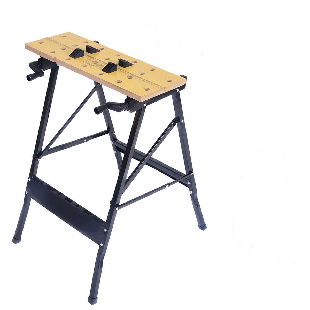 Foldable Work Bench Table Tool Repair Workshop Capacity 350 Lb w/ Adjustable Swivel Pegs