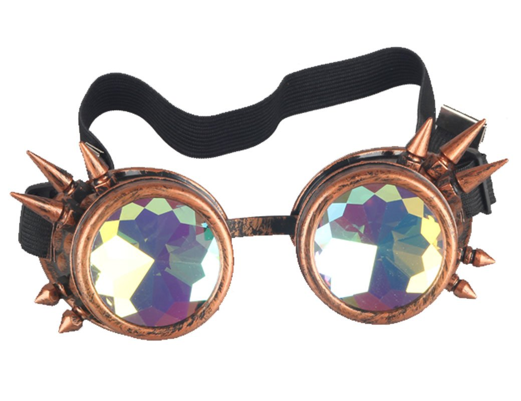 Rainbow Crystal Lenses Steampunk Glasses Chrome Finish Gotchic Welder Goggles,Red Copper,Adjustable