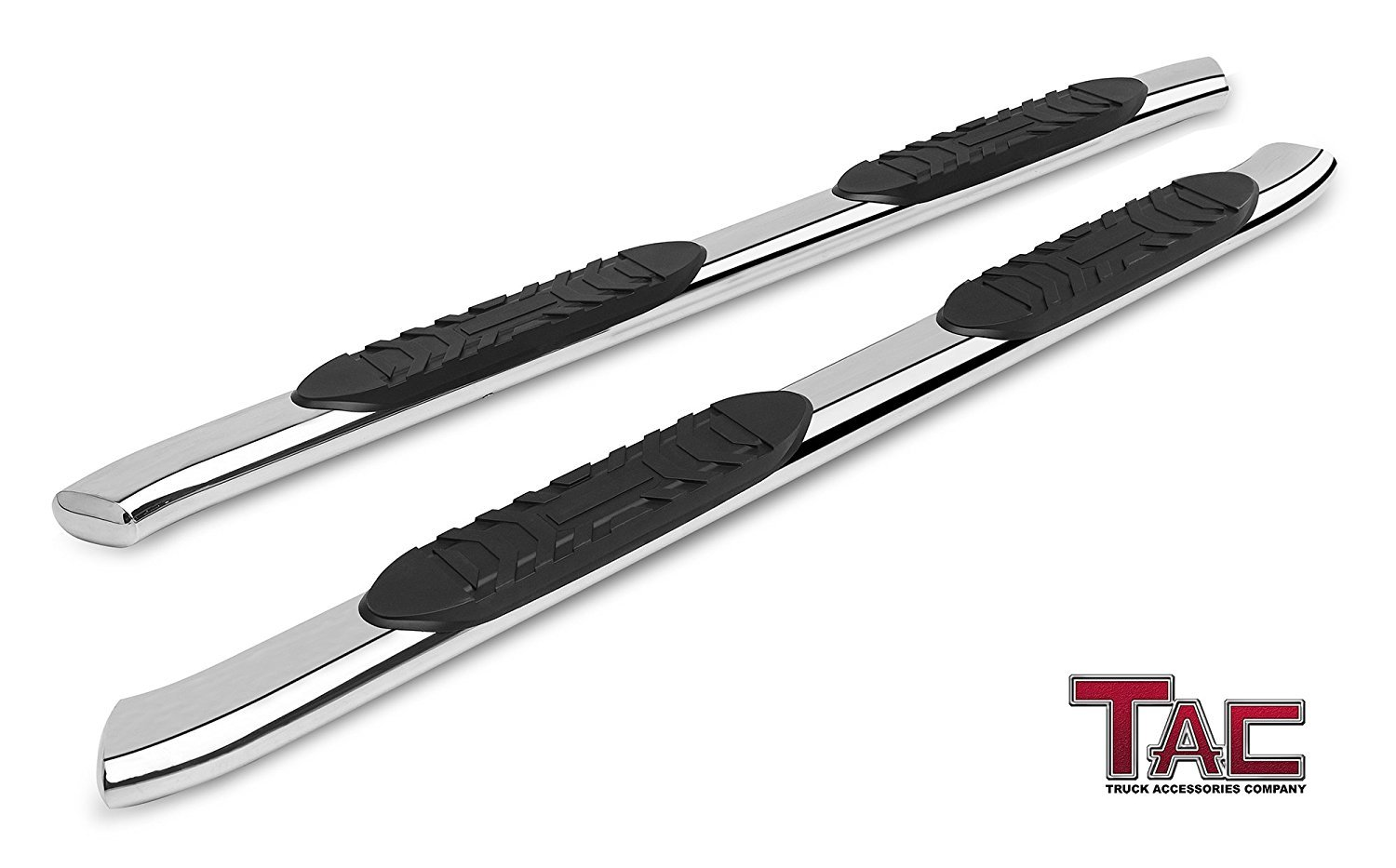 2 Pieces TAC Side Steps Fit 2007-2019 Toyota Tundra Double Cab Truck Pickup 5 Premium Oval Bend T304 Stainless Steel Side Bars Nerf Bars Step Rails Running Boards Off Road Exterior Accessories