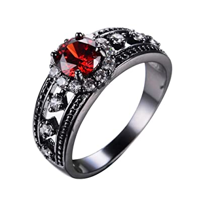 Amazoncom T Jewelry Antique Jewelry Red Ruby Rings Black