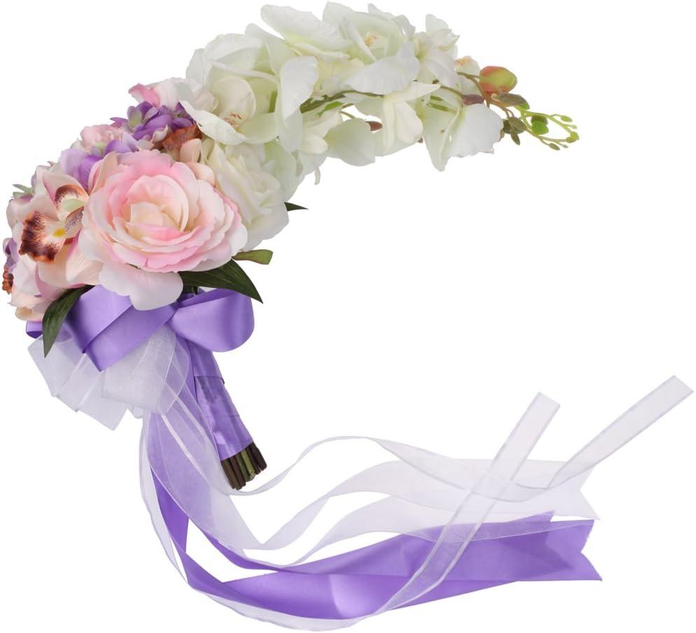 Bleu MagiDeal Bouquet Fleur Artificielle Rose Orchid/ée en Cascade avec Ruban pour Mari/ée Demoiselle dhonneur