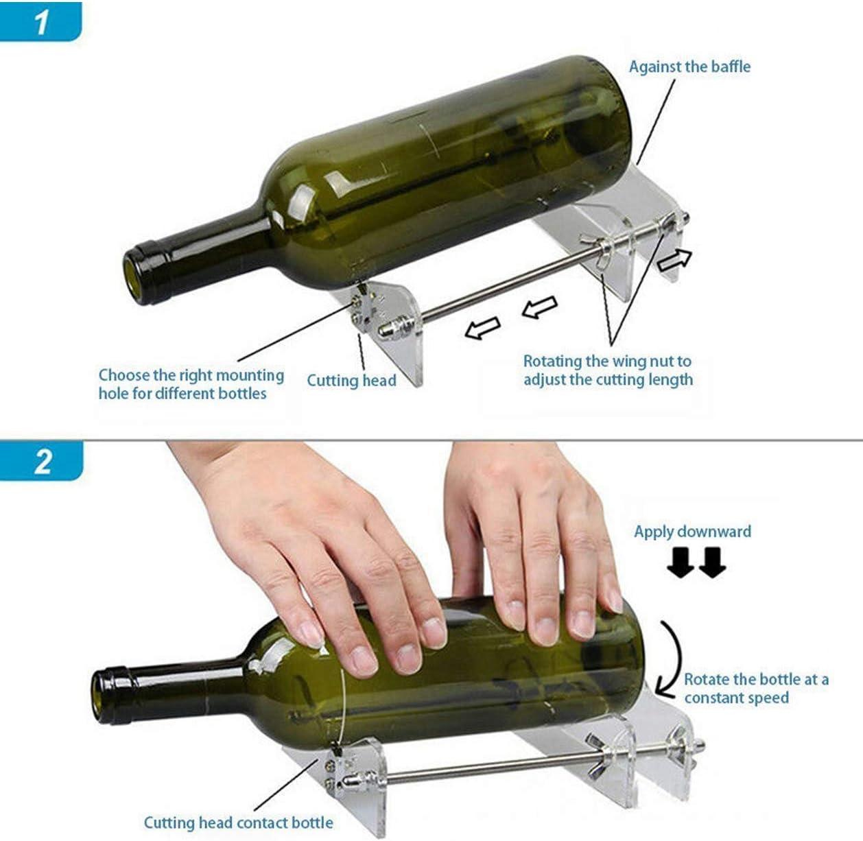 Naliovker Coupe-Bouteille en Verre Outil de Coupe de Bouteille Professionnel Coupe-Bouteille en Verre Outil de Coupe de Bricolage Machine Bi/èRe de Vin