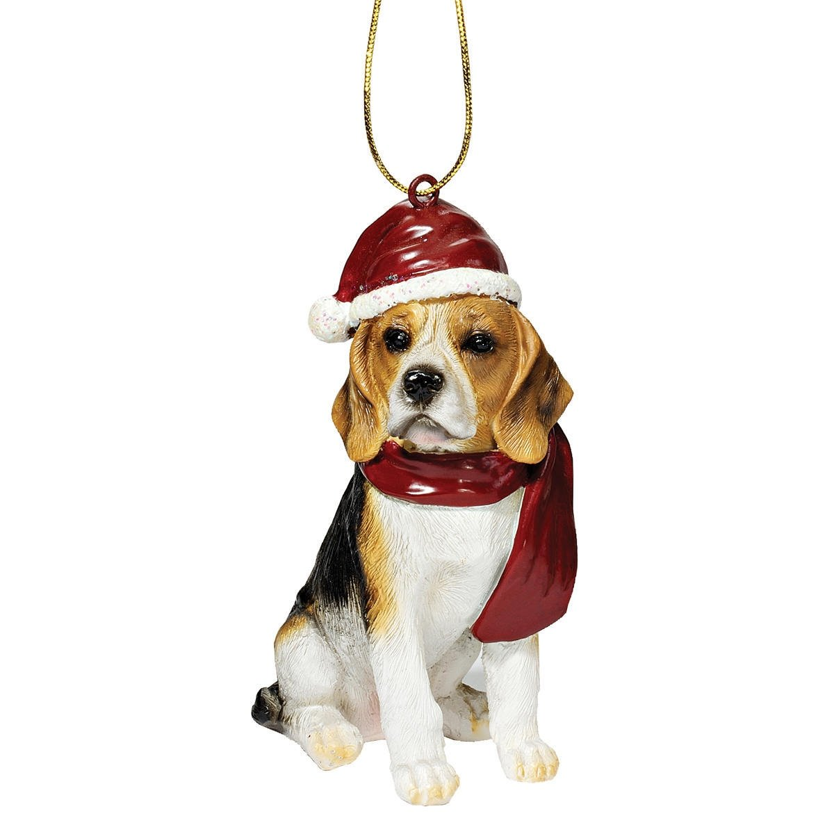 Design Toscano Beagle Holiday Dog Christmas Tree Ornament Xmas Decorations, 3 Inch, Polyresin, Full Color