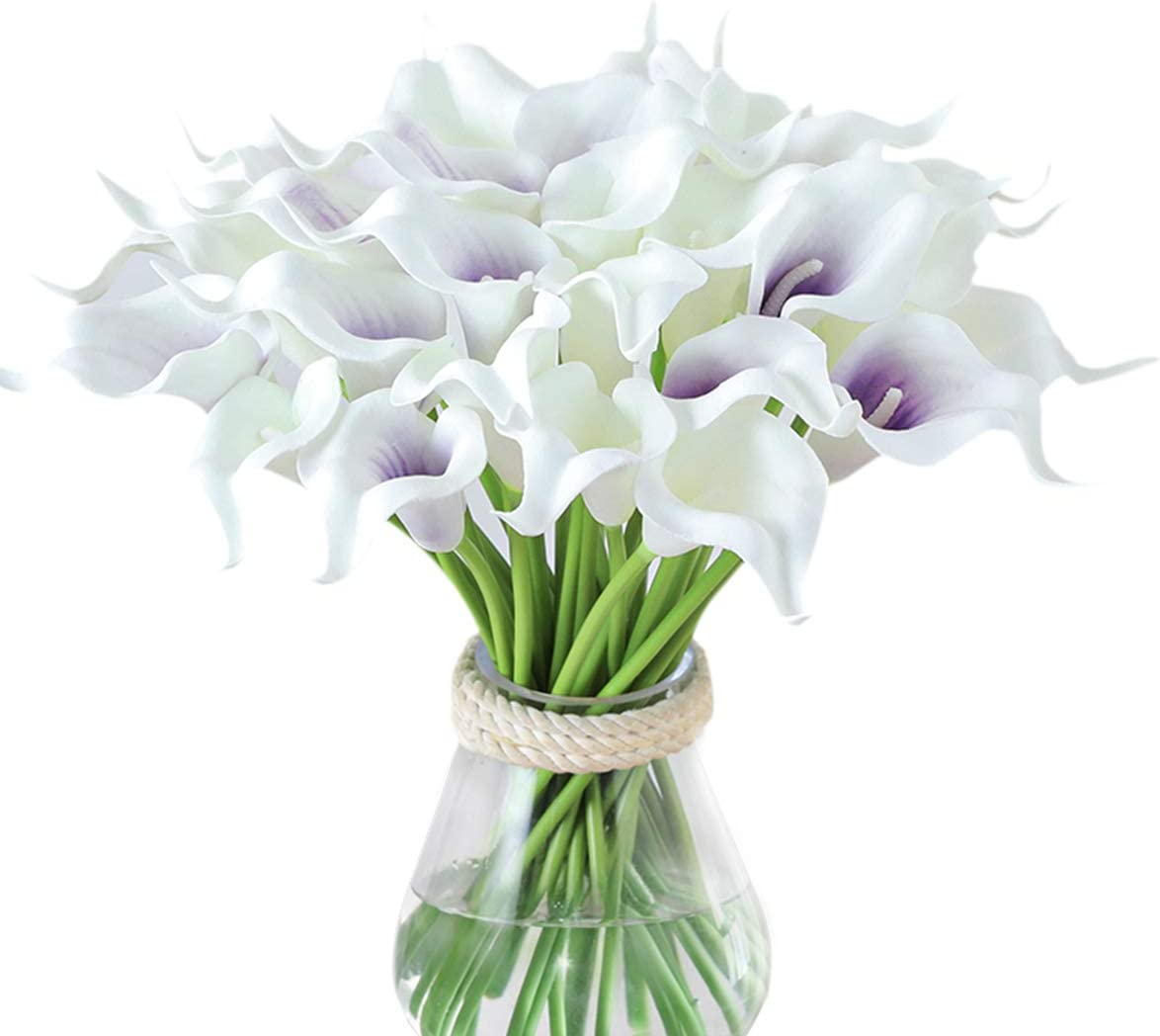 Tifuly 24pcs Calla Lily Bridal Wedding Bouquet Latex Real Touch Artificial Flowers Arrangement for Home Office Party Decor (Purple and White)